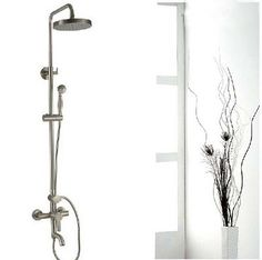 Luxury Brushed Nickel Exposed Rain Shower Faucet Set Bathtub Shower Mixer  Tap