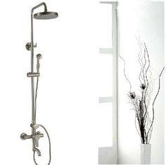 Luxury Brushed Nickel Exposed Rain Shower Faucet Set Bathtub Shower Mixer  Tap