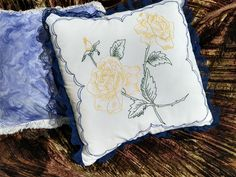 Hand Embroidered Pillow - Yellow Roses