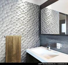 Textured wall tiles in small doses for accents. 3d Wall Tiles, Wall Tiles Design, Tile Panels, 3d Wall Panels, Textures Murales, 3d Wandplatten, Panneau Mural 3d, 3d Wall Decor, Tiles Texture