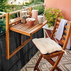 Muebles, silla y mesa plegables para balcones pequeños Small Balcony Design, Small Balcony Decor, Diy Furniture Projects, Home Furniture, Outdoor Furniture Sets, Outdoor Decor, Decorating Your Home, Diy Home Decor, Open Kitchen And Living Room