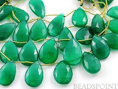 Natural ''NO TREATMENT'' Green Onyx Large Faceted by Beadspoint, $24.95