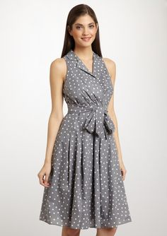 The color isn't much, but I think this dress would be very flattering on a large bust and small waist. Plus it's polka dots!