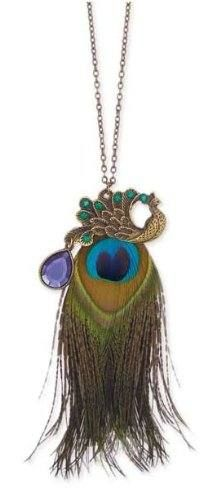 Peacock Feather Long Fashion Necklace with Antique Gold Finish  $22.99