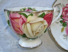 """Queen Anne """"Lady Margaret"""" - Fine Bone China England - Vintage Tea Cup and Saucer - Pink Roses, Bone Green Leaves with Heavy Gold Trim by OfftheShelf2015 on Etsy"""