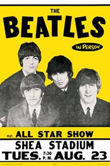 The Beatles IN PERSON Shea Stadium 1965 Concert Poster Reprint