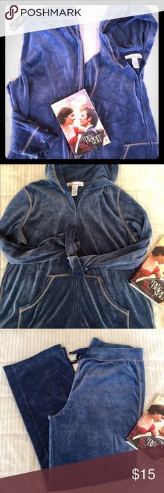Ladies Velour Track Suit Super Soft Velvet like Velour,  Ladies Beautiful Blue Track suit, Size Large. Zip up hoodie with pockets. Pants have an elastic waist with draw string. Great outfit for lounging or running errands! Great condition! ✨ Jones New York Tops Sweatshirts & Hoodies
