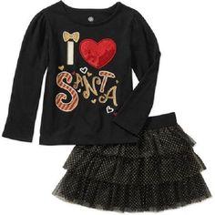 "Baby Girls 2pc ""I Heart Santa!!"" Holiday Outfit NWT Sz 24 Months! Shirt & Skirt! #BirthdayPartiesSwimPoolPartiesChristmasValentinesDayDressyEverydayHoliday"