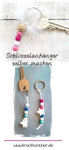 Make your own keychain ★ Kreativzauber® Make a keychain yourself – DIY also for children because such a pendant made of pearls is super easy and quick to mak Diy Gifts For Kids, Presents For Kids, Diy For Teens, Crafts For Kids, Great Gifts, Make Your Own Keychain, Diy Keychain, Easy Crafts, Diy And Crafts