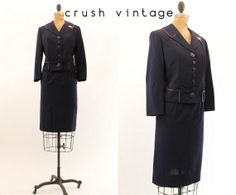 40s Navy Workday Suit S / 1940s Vintage Jacket and by CrushVintage, $108.00