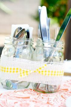 Mason jars wrapped in burlap & ribbon to hold silverware | Creative Juice #chillingrillin