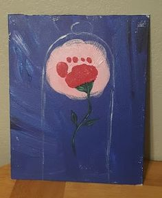 """""""Madison's Enchanted Toes"""" Enchanted Rose footprint art for Beauty and the Beast themed Birthday. Gifts/favors for her grandparents."""