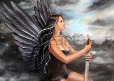 anioł: Ilustracja Fantasy Czarny anioł Zdjęcie Seryjne