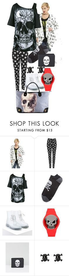 """""""pluses of skull"""" by lerp ❤ liked on Polyvore featuring Hot Topic, WearAll, Corgi, Forever 21, Loungefly and Volcom"""