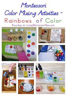 Color mixing is a popular activity in Montessori schools and homeschools. Here's a roundup of Montessori color mixing activities for making rainbows of color - Living Montessori Now Color Montessori, Montessori Science, Montessori Practical Life, Montessori Homeschool, Montessori Classroom, Montessori Materials, Preschool Science, Montessori Elementary, Preschool Kindergarten