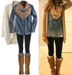 camisa jean + chaqueta tricot