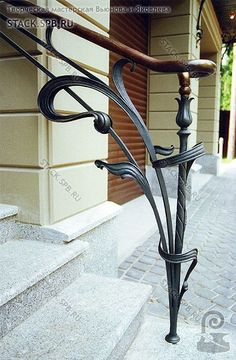 Art Deco balustrade to stairs Wrought Iron Stair Railing, Iron Staircase, Wrought Iron Gates, Metal Railings, Balustrades, Banisters, Porch Handrails, Outdoor Stairs, Outdoor Handrail