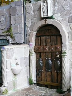 entrance of miniature church, made by Fennicole Miniatures