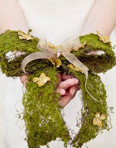 Mossy bow, with organza ribbon and flower petals ring bearer pillow ~ by BeSomethingNew, $42.00
