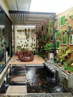 Home Garden Design Ideas Home Garden Design, Interior Garden, Home Room Design, Yard Design, Home And Garden, Backyard Pool Designs, Small Backyard Landscaping, Modern Landscaping, Fish Pool