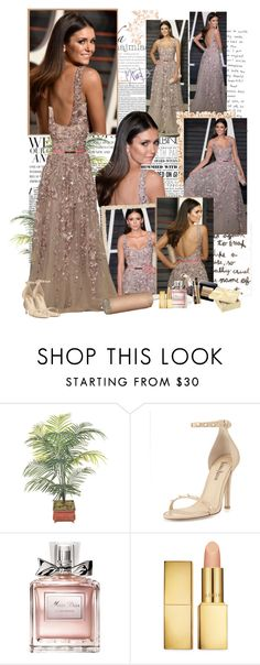 """""""Nina Dobrev - Vanity Fair Oscar Party Hosted By Graydon Carter - 28/02/2016"""" by iced ❤ liked on Polyvore featuring Gwyneth Shoes, Neiman Marcus, Christian Dior and AERIN"""
