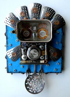 """Night Owl"" -Recycled art collage    www.jen-hardwick.com"