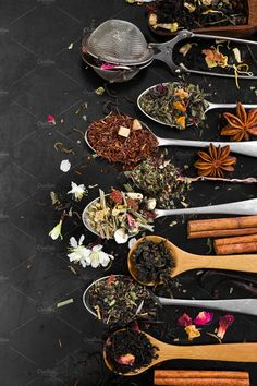 Aromatic flower tea in spoon by Nataliia Pyzhova on Creative.- Aromatic flower tea in spoon by Nataliia Pyzhova on Creative Market Source by puravidayogade - Tee Kunst, Drink Photo, Flower Tea, Flower Food, Tea Art, Tea Blends, Loose Leaf Tea, Herbal Tea, Tea Recipes