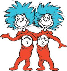 Thing 1 and Thing 2 Birthday party ideas - fun ideas for party games, crafts, decorations, food, favors and more!