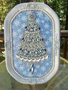 Huge Vintage Rhinestone Jewelry Christmas Tree Framed Art | eBay
