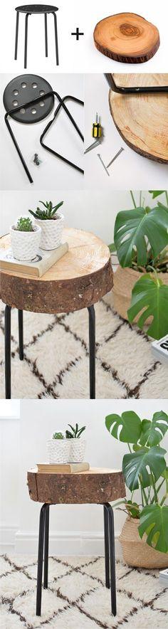 Boho Deco Chic: DIY: de taburete a mesa auxiliar de madera natural