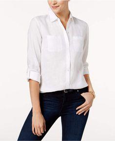 2308a6e9d35 Charter Club Petite Linen Utility Shirt