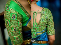 Handmade Green and gold Paisley Maggam design work saree blouse - Custom sizes above 46 inches can be made.Please contact us for prices **Default latkans or tassels - Wedding Saree Blouse Designs, Pattu Saree Blouse Designs, Fancy Blouse Designs, Blouse Neck Designs, Saree Wedding, Sleeve Designs, Wedding Dresses, Maggam Work Designs, Designer Blouse Patterns