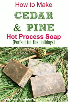 sHere is a perfect soap recipe to make for the holidays: Pine & Cedar. Your man will love it and you will too! The hot process soap making method is high lighted in this post, so you can use the soap right away! Make pine & cedar natural handmade soap! Diy Savon, Savon Soap, Soap Making Kits, Soap Making Supplies, Handmade Soap Recipes, Handmade Soaps, Diy Soaps, Crockpot, Lotion Bars