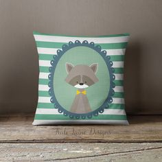 Nursery Green Racoon Throw Pillow Case by KaliLaineDesigns on Etsy