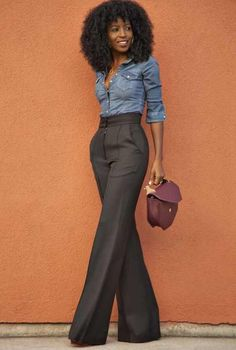 Love this look w/the denim shirt and tailored dress pants.