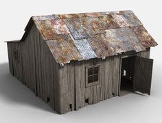Poser: Old Shack - Dilapidated wooden shack. The walls and roof can be hidden for interior shots as well as the corrugated iron (if you don't wish to use it). Building Structure, Model Building, Wooden Shack, Ho Scale Buildings, Model Train Layouts, Blender 3d, Le Far West, Tallit, Miniature Houses