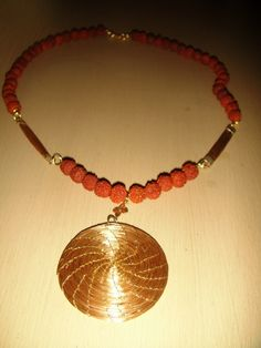 necklace made with Brazilian Golden Grass and Indian Rudraksha