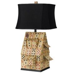 Vintage Card Pattern House of Cards Table Lamp With Black Shade at Joss and Main!