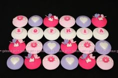 Cupcakes : 1st birthday with pink purple white butterflies hearts flowers