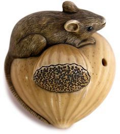 Japanese Netsuke | Japanese Ivory Netsuke of Mouse on Chestnut Signed Yukimasa