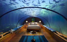 Underwater bedroom in the Conrad Hilton, Rangali Island, Maldives