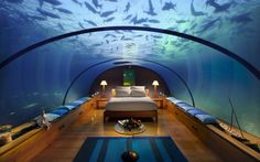 Underwater bedroom in the Conrad Hilton, Rangali Island, Maldives
