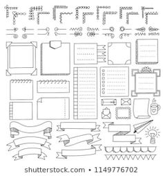Bullet journal hand drawn vector elements for notebook, diary and planner. Doodle banners isolated on white background. Bullet Journal Images, Bullet Journal Boxes, Bullet Journal Lettering, Doodle Bullet Journal, Bullet Journal Writing, Bullet Journal Headers, Bullet Journal Banner, Journal Fonts, Bullet Journal School