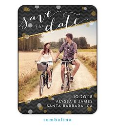 Tumbalina Glitter Chevron Digital Photo Save The Date Magnet with black, silver and gold