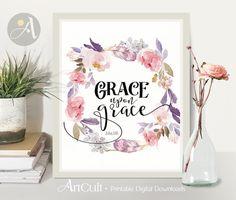 Welcome to ArtCult, printable wall art designs.  Grace Upon Grace. John 1:16. Printable artwork.