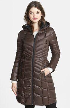 Bernardo Packable Goose Down Hooded Walking Coat in Dark Coffee/Black available at #Nordstrom Was: $210.00 Now: $124.90 40% OFF Item #765488