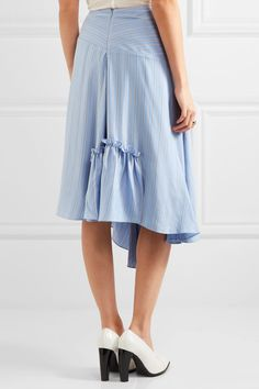 J.W.Anderson | Asymmetric striped silk crepe de chine skirt | NET-A-PORTER.COM