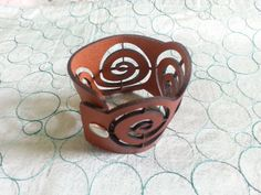 Swirl Leather Cuff Bracelet by GioGioDesign on Etsy