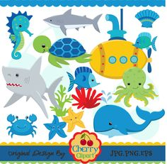 Submarine And Sea Creatures for boys set -Personal and Commercial Use-paper crafts,card making,scrapbooking,web design. $5.00, via Etsy.