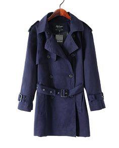 Dark Navy Blue Belted Trench Coat In Longer Length